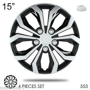 New 15 Hubcaps Spyder Performance Black And Silver Wheel Covers For Vw 553