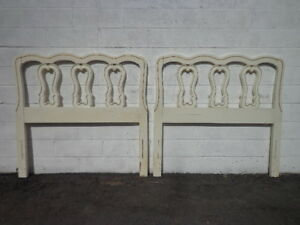 2 Headboards Pair Vintage French Provincial Twin Bedroom Set Single Bed Cottage
