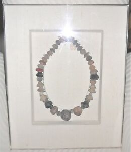 Pre Columbian Spindle Whirl Coin Terracotta Necklace Framed In Shadowbox