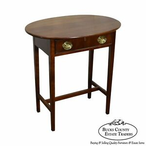 Statton Solid Cherry Wood 1 Drawer Federal Style Side Table