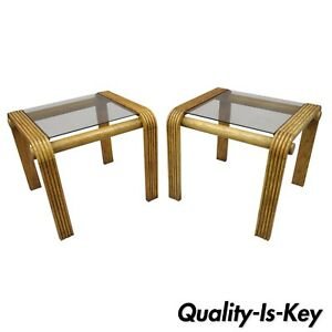Pair Vtg Mid Century Modern Oak Wood Floating Glass End Tables Lou Hodges Style