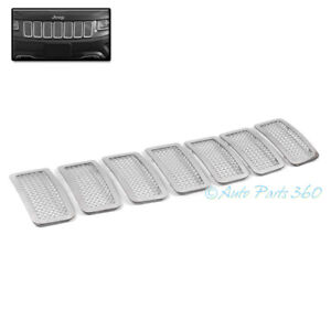 For 11 13 Jeep Grand Cherokee Front Upper Mesh Grille Grill Insert Chrome 7pcs