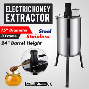 3 6 Frame Electric Honey Extractor Plastic Gate 15 Diameter Stainless Steel