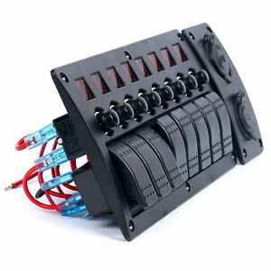 Hot 8 Gang Red Led Indicators Rocker circuit Breaker Waterproof Switch Panel Sa