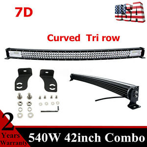 Curved Tri row 43inch 540w Led Light Bar Flood Spot Driving Fog Lamp Offroad 42