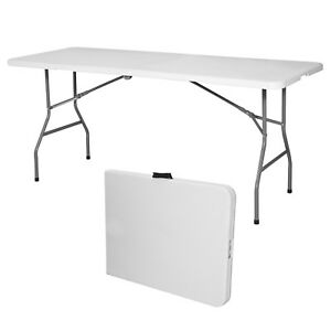 6 Portable Centerfold Folding Table Indoor Outdoor Camp Party Picnic Plastic