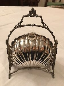 Victorian Style Silver Plate Folding Biscuit Box