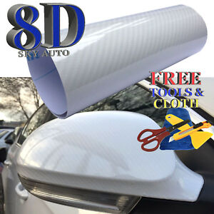 8d White Shinny Glossy Carbon Fiber Vinyl Wrap Sheet With Air Release