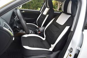 Car Seat Covers Set Leather cooling Mesh White Black toyota Prius 2010 2015