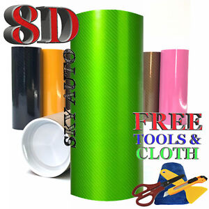 8d Green Shinny Glossy Carbon Fiber Vinyl Wrap Sheet With Air Release