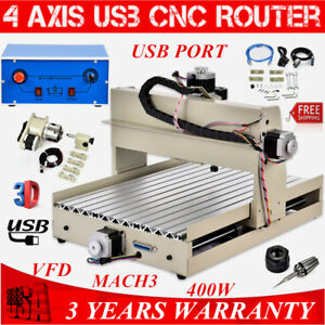 3040 4 Axis Usb Cnc Router Engraver Milling Engraving Driling Machine Mach3