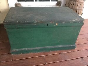 Stunning Antique Vintage Pine Chest Trunk Blanket Box Old Shabby Green Paint