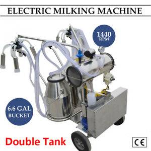 Double Tank Electric Vaccuum Pump Milking Machine For Cows cattle 2 5 Shipped