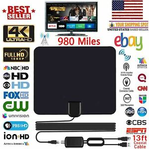 980 Miles Range Digital Tv Antenna 1080p Amplified Hdtv Booster Usb Power Hd Ny