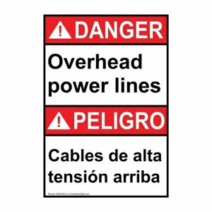 Ansi English Spanish Overhead Power Lines Sign 28x20 In Aluminum