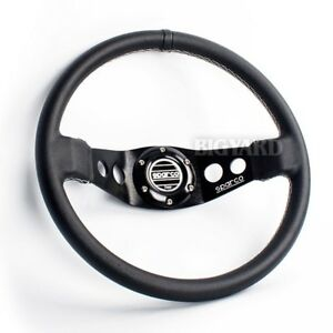 340mm Sparco Black Spoke Deep Dish Genuine Leather Racing Steering Wheel W Horn