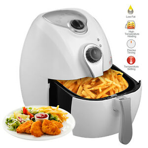 Electric Air Fryer Timer Temperature Control Multi Function White 4 4qt 1300w