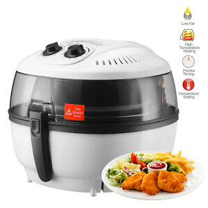Electric Air Fryer Oil less Timer Temperature Control Roaster 7 4qt White