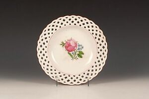 A Russian Gardner Porcelain Works Reticulated Floral Plate Early 19th Century