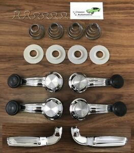 Window Crank Door Handles 20pc Kit Chevelle Camaro Gto Nova Black Impala Cutlass