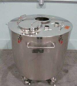 Used 60 66 Gallon 250 Liter Jacketed Sanitary Stainless Steel Tank Lift Off Lid
