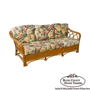 Quality Rattan Sofa W Floral Upholstered Cushions