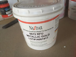 Nazdar Graphic Screenprint Silkscreening Ink Gold 9572 Quart