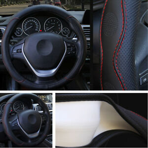 Pu Leather 38cm Embossed Car Steering Wheel Cover For Nissan Bmw Black Red