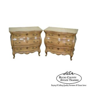 French Louis Xv Style Vintage Pair Of Bombe Chests By Union National
