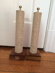Burlap And Wood Bracelet Display Vertical Set Of Two