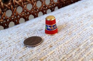 Antique Chinese Enamel Carved Red Cinnabar Thimble