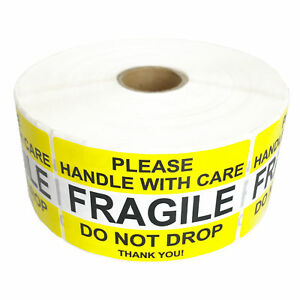 Premium Fragile Stickers Handle With Care Yellow Do Not Drop Label 2 X 3 Label