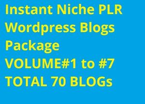 Instant Niche Plr Wordpress Blogs Package Volume 1 To Volume 7 total 70 Blogs