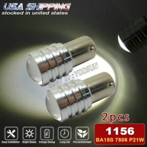 2x White 1156 Ba15s Car Projector Lens Led Bulb Backup Reverse Back Up Light
