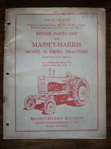 Massey Harris 33 Diesel Parts Manual