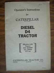 Caterpillar D4 Diesel Crawler Owners Manual