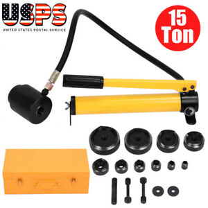 Hydraulic Knockout Punch Driver Kit 15 Ton 10 Dies 11 14 Gauge Hole Tool W Case