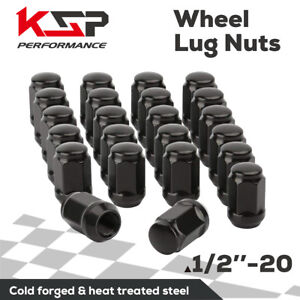 23pc Black Cone Seat Wheel Lug Nuts 1 2x20 Racing Fit Civic Mustang Jeep Ford