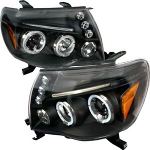 For 05 11 Toyota Tacoma Dual Halo Projector Headlights Black Housing Trd Sport