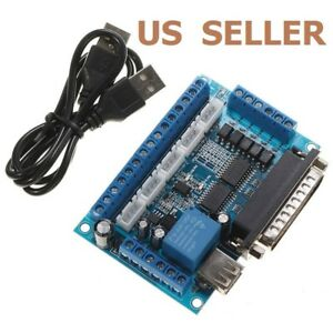 5 Axis Cnc Interface Adapter Breakout Board For Stepper Motor Driver Mach3 W usb