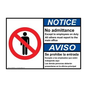 Ansi English Spanish Employees Only Sign 20x14 In Aluminum Made In The Usa
