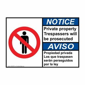 Ansi English Spanish Private Property Sign 20x14 In Aluminum Usa made