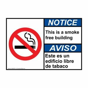 Ansi English Spanish This Is A Smoke Free Building Sign 20x14 In Aluminum