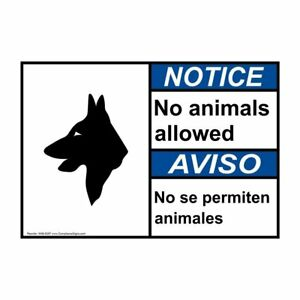 Ansi English Spanish No Animals Allowed Sign 28x20 In Aluminum Usa made