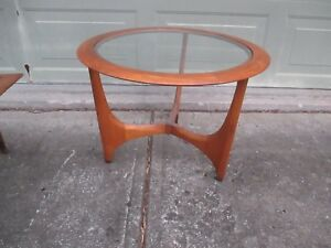 Mcm Lane Adrian Pearsall Walnut Glass Round Coffee Table Sculpted