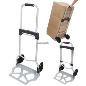 220lbs Folding Hand Truck Cart Portable Dolly Utility Load Cart W rubber Wheels