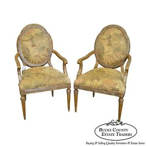 Jeffco French Louis Xvi Style Pair Of Fauteuils Arm Chairs A