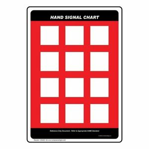 Blank Crane Hand Signal Chart Sign 20x14 Aluminum Multi color Us made