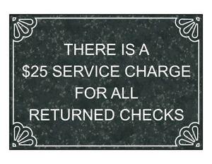 Compliancesigns Engraved Plastic Service Charge Returned Checks Engraved