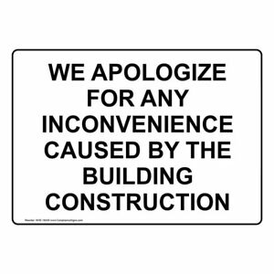 Compliancesigns Aluminum Construction Sign 20 X 14 In With English Text White